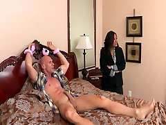 Big-tit brunette MILF comes home to find college boy in her bed