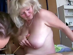 Old big fat woman granny has fun with other granny