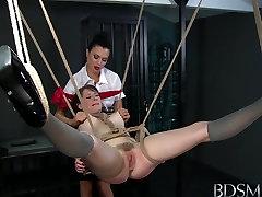 BDSM XXX Mistress enjoys cock before making sub squirt