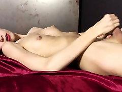 Asian tgirl Rika T masturbating nude