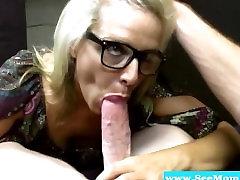 Mature blowjob blonde with glasses sucks