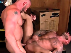 Muscly bear guard cums