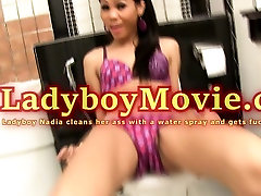 Ladyboy Nadia Cleans Ass For Bareback Anal