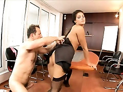 Charming brunette in black stockings has a hard pole filling her ass