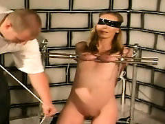 Painful fetish play with horny blonde