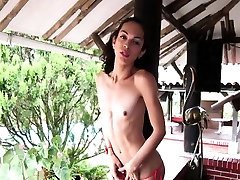 Latina skinny ladyboy cumming solo