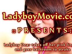 Ladyboy Dear Jerks Off In Bathtub