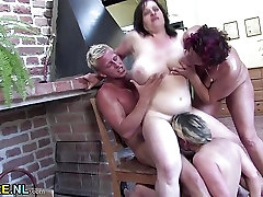 Three chubby matures fuck a dude