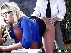 Busty Julie Cash fucked across her work desk