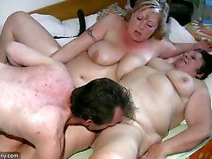 Old chubby Granny has massage of BBW mature Nurse