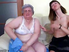 Teen Girl and old chubby Granny mastubate