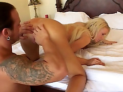 Sexy blonde getting cum on her face
