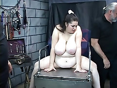 Knife and clamp play torture the nips of this vibrator loving bbw slave girl