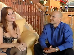 Hot girl with big tits fingers her pussy and gives guy blowjob