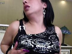 Amateur mature slut and her big black dildo