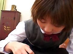 Schoolgirl slut Shinobu Kasagi sucks a cock uncensored