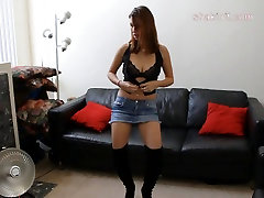 up her jean skirt striptease