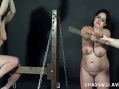 Lesbian spanking and amateur caning of bbw slave by fat mist