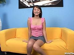 Skinny Asian Girl Deepthroats and Gags