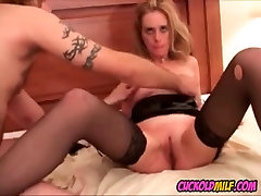 Cuckold MILF fucked by 3 black bulls while sissy watches
