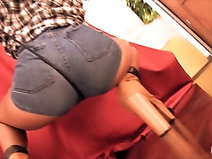 Bubble Butt Latina Wearing Tight Denim Shorts! Perfect Ass!