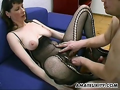 Busty and hairy amateur Milf blowjob, titjob and cum on tits