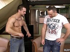 Hot gay muscle dude fucks his buddy