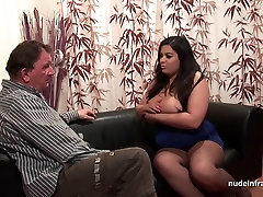 Casting of a huge boobed french BBW in fishnet stockings