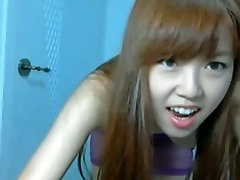 Skinny Asian girl dancing on webcam