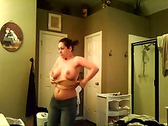 Ex GF with Big tits voyeured while changing...