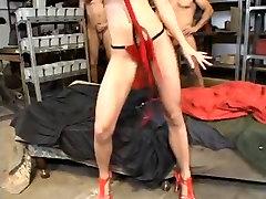 cute blonde woman brutal anal gangbang