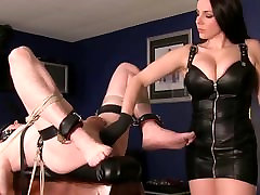 Tied Down Slave Gets Ass Fingered and Cum Fed