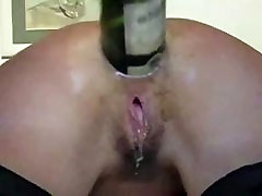 Amateur anal fisting wine bottle insertion