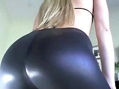 Hot white girl give ass tease